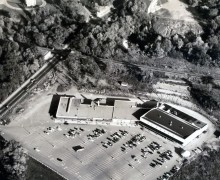 Billings Bridge Plaza from the air around 1954