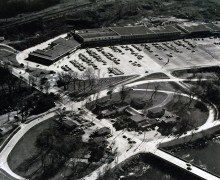 Billings Bridge Plaza from the air in the late 60s